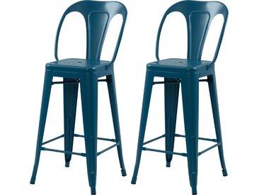 Chaise de bar industrielle en métal bleu mat 66 cm (lot de 2) - Indus