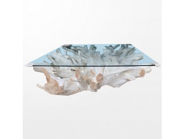 Sublime table basse en teck et son dessus de verre