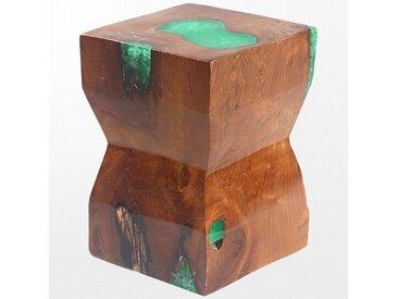 Tabouret bas en bois balinais et aux couleurs tropicales, 27 x 29 x 39 cm