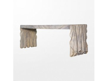 Banc atypique en bois drapé gris effet pierre