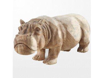 Imposante sculpture animale en bois de suar, hippopotame de 130 x 40 x 55 cm