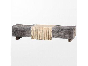 Très large banc en bois effet pierre grise et ses reflets de bois naturel