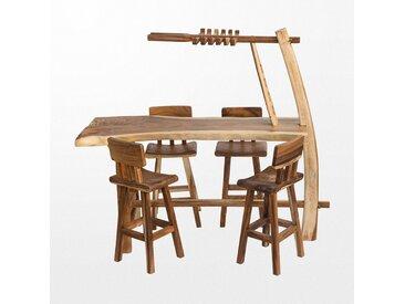 Ensemble de mange-debout et ses 4 tabourets en bois avec un range bouteille