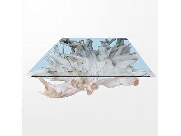 Table basse en bois et son dessus de verre de 43 x 100 x 100 cm
