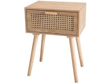 Table de chevet 1 tiroir Cannage/Bois clair - LISA