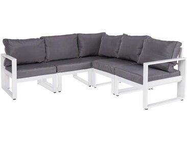 Canapé d'angle d'extérieur Aluminium Blanc/Gris - PAPEARI