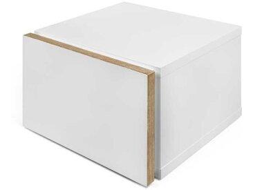 Table de chevet 1 tiroir Bois/Blanc mat - NOAPTE