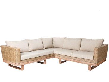 Canapé d'angle d'extérieur Bois d'acacia/Rotin - RINCA