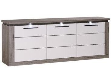 Buffet 3 portes Bois gris/ Laque blanche - NOVA - L 221 x l 52 x H 85