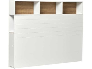 Tête de lit aménagée Bois Blanc 165 cm - BELLINA