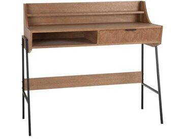 Bureau secrétaire 1 tiroir Métal/Bois parqueté - GENIA