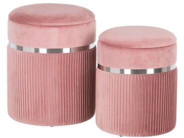 Duo de Poufs coffres Tissu rose/Métal argent - ETIOR