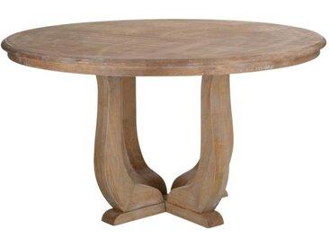 Table de repas ronde campagne Bois blanchi - ZAGORA