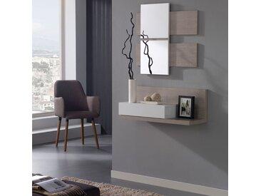 Meuble d'entrée Blanc/chêne clair + miroir - LISIA