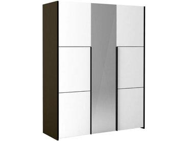 Armoire 3 portes battantes Gris anthracite/Blanc - FLORINE