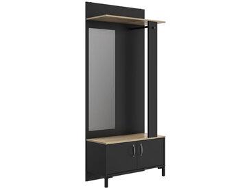 Meuble vestiaire Noir avec miroir - LYON