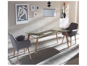 Table de repas Verre/Frêne - SAMBA