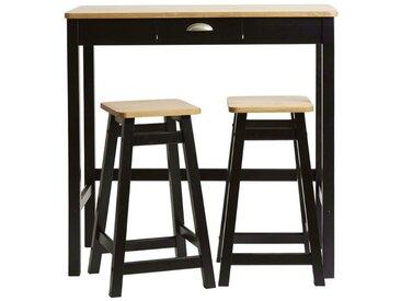 Table haute + 2 tabourets Noir/Bois - IZAT