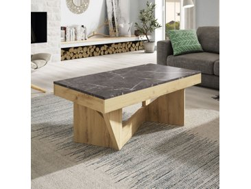 Table basse relevable Chêne blond/Marbre gris - POPLO