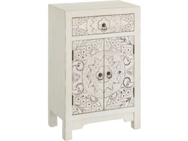Confiturier 2 portes, 1 tiroir Blanc fleurs Chinois - PEKIN