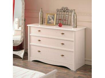 Commode 3 tiroirs Pin Blanc - GENTIANE - L 119 x l 50 x H 85