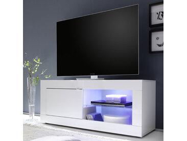 Meuble TV 1 porte 2 niches Blanc laqué brillant à LEDs - MATERA