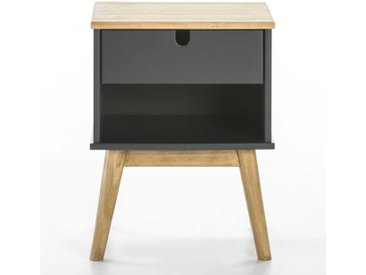 Table de chevet 1 niche1 tiroir Gris/Bois - OLAS