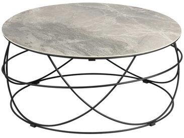 Table basse ronde plateau Céramique gris - DALLAS