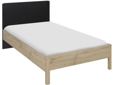 Cadre + Tête de lit 90*200 Chêne/Noir - ESTHER