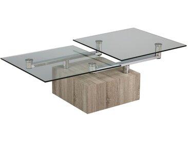 Table basse articulée Bois/Verre - FRITZ