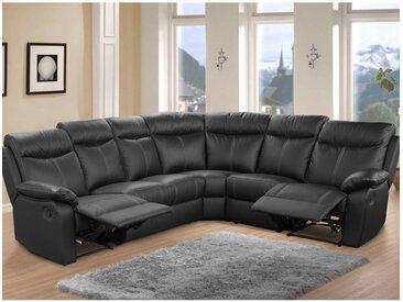 Canapé d'angle Relax 7 places Cuir Noir - VYCTOIRE