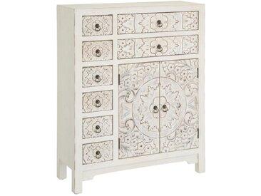 Meuble d'entrée 2 portes, 8 tiroirs Blanc fleurs Meuble Chinois - PEKIN