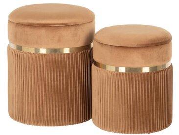Duo de Poufs coffres Tissu marron/Métal or - ETIOR