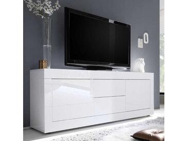 Meuble TV 2 portes 2 tiroirs Blanc laqué brillant - MATERA