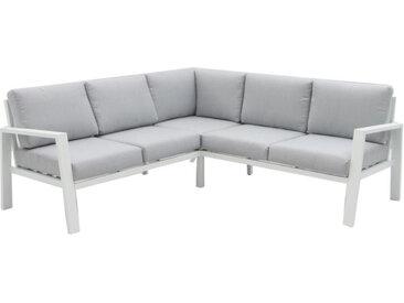 Canapé d'angle d'extérieur Aluminium Blanc/Gris - VADO