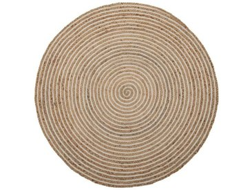 Tapis rond Jute naturel spirale blanche 120*120 - PEALE