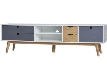 Meuble TV 4 tiroirs 1 porte Blanc/Bois/Gris - NANO - L 180 x l 50 x H 37
