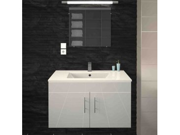 Meuble vasque 2 portes Blanc brillant - BOVIELLE