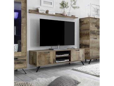 Meuble TV 2 portes Planches bois - PALERME