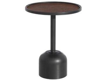 Sellette ronde Métal noir/Simili cuir marron - BOMIA