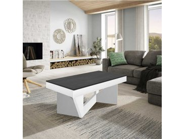 Table basse relevable Chêne blanc/Marbre gris - POPLO