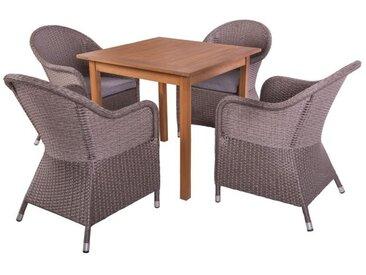 Ensemble Table carrée & Fauteuils Bois/Rotin - OLUVELI