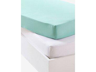Lot de 2 draps-housses bébé en jersey extensible Oeko-Tex® bleu vert + blanc