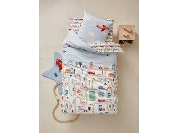 Parure housse de couette + taie d'oreiller enfant AUTO-CITY Oeko-Tex® beige imprimé