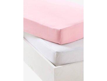 Lot de 2 draps-housses bébé en jersey extensible Oeko-Tex® rose pâle + blanc