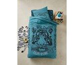 Parure fourre de duvet + taie d'oreiller TIGER Oeko-Tex® bleu
