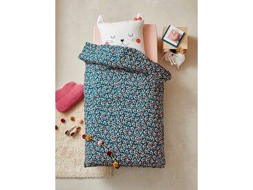 Parure housse de couette + taie d'oreiller enfant CHAT WAOU Oeko-Tex® bleu / multicolore