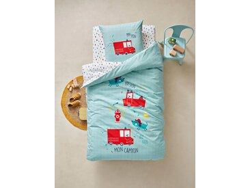 Parure housse de couette + taie d'oreiller enfant PIN PON PIN Oeko-Tex® vert d'eau