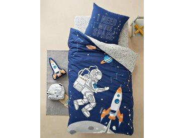 Parure housse de couette + taie d'oreiller enfant INTERGALACTIC Oeko-Tex® bleu foncé imprimé/gris clair
