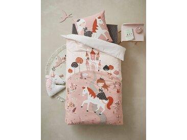 Parure housse de couette + taie d'oreiller enfant PRINCESSE NATURE avec sequins réversibles Oeko-Tex® rose